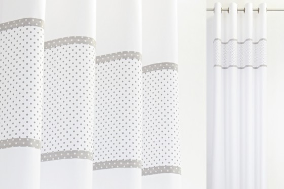 White Grey Polka Dot Eyelet Curtains