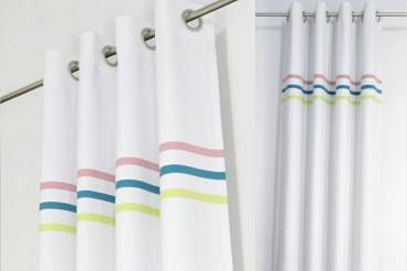 White & Yellow, Blue and Pink Curtains