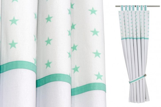Sea Foam & White Stars Curtains