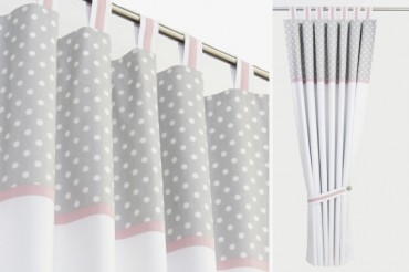 Grey Polka Dot Blackout Curtains