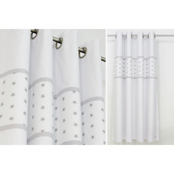 Grey Stars Nursery Curtains