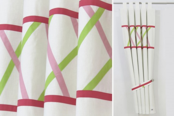 Diagonal Stripes Funky Linen Curtains