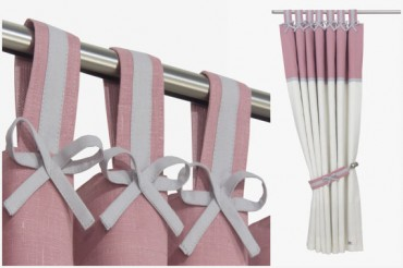 Grey & Pink Nursery Curtains