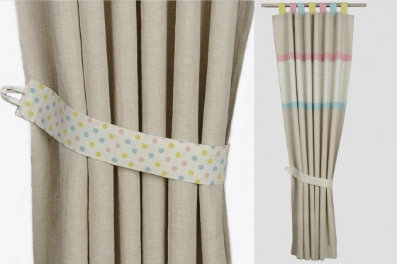 Pure Linen And Organic Cotton Curtains With Blackout Lining Pastel Polka Dot Stripes Two Panels