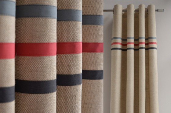 Made To Measure Linen Blend Curtains With Three Stripes In Organic Cotton Red Blue And Grey Two Panels
