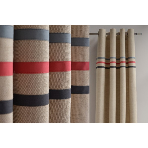 Made to measure linen blend curtains with three stripes in organic cotton  in red  blue and grey   Two panels. Red Blue Grey Boys Room Curtains