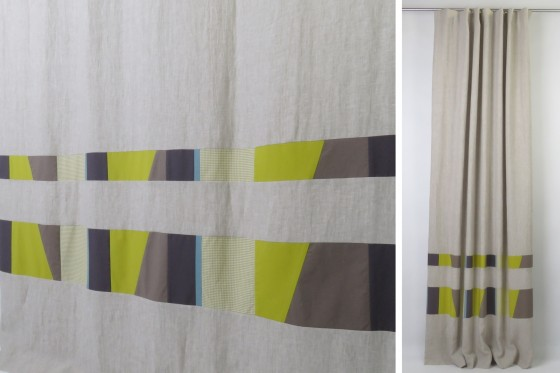 Olive Green Wave Pleat Linen Curtains
