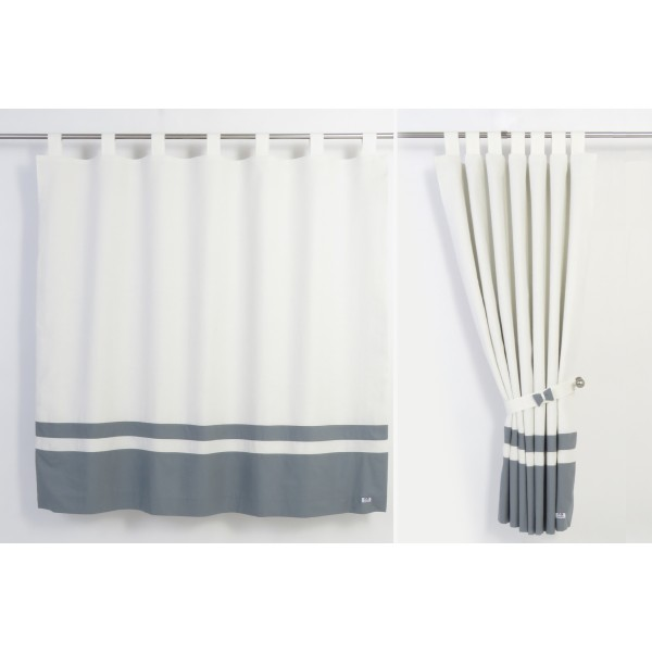 White And Grey Linen Curtains