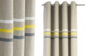 Yellow and Grey Stripes Linen Curtains