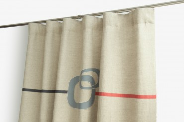 Neutral Funky Curtains with Red & Grey