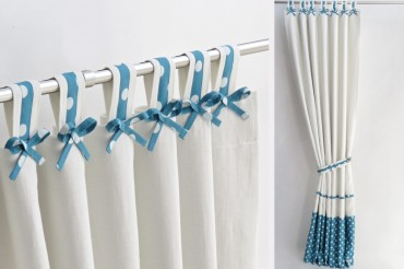 Teal Nursery Curtains with Bows