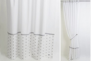 Grey & White Stars Curtains