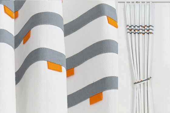 Grey & Orange Modern Curtains