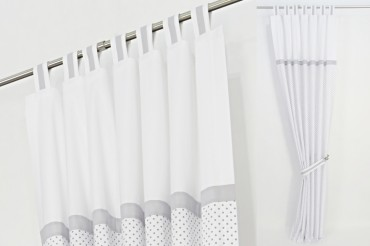 Grey & White Polka Dot Curtains