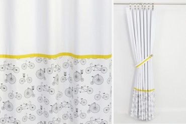 Black White Yellow Blackout Curtains