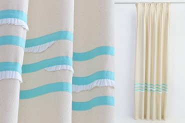 Sea Foam & White French Pleat Curtains