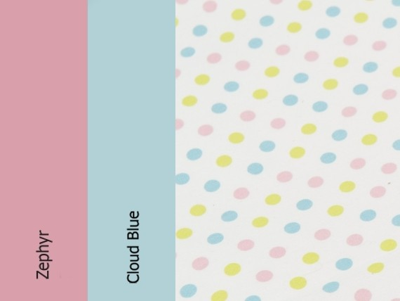 Zephyr, cloud blue, candy polka dots