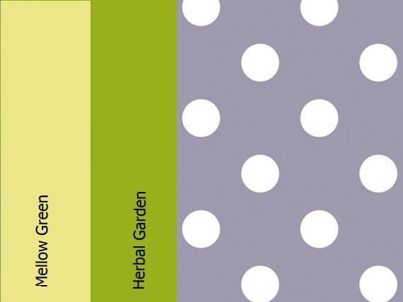 Mellow green, herbal garden, lavender dots