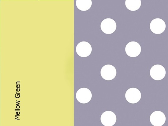 Mellow green, lavender dots