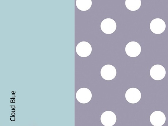 Cloud blue, lavender dots