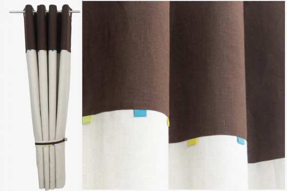 Brown and Beige Linen Curtains