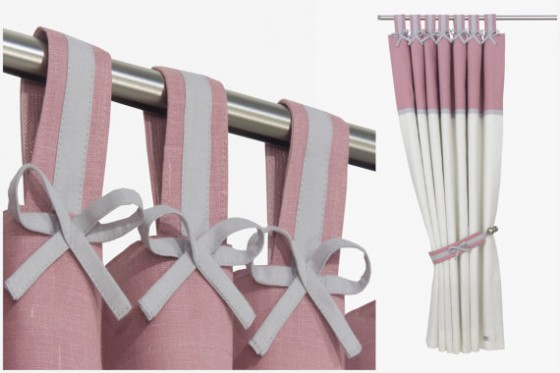 Grey & Pink Nursery Curtains