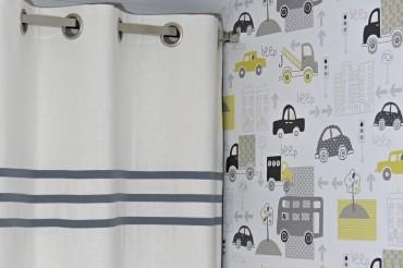 Grey Stripes Linen Blackout Curtains