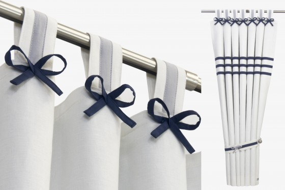 White Navy Grey Nursery Curtains