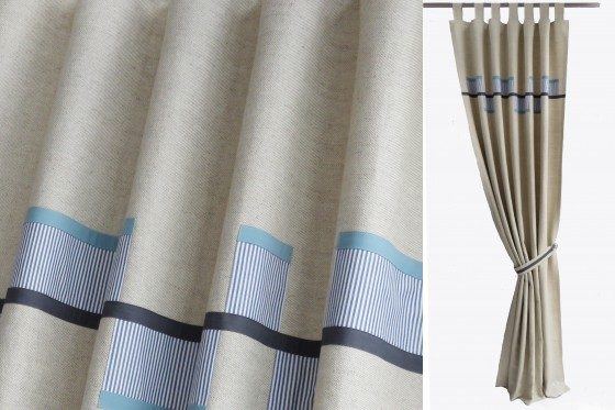 Blue and Grey Linen Blend Curtains