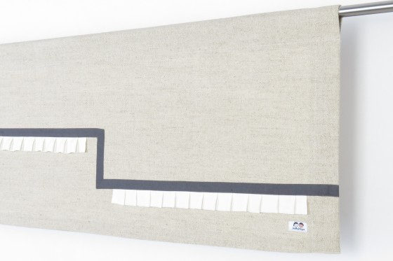 Linen Rod Pocket Dark Grey and White Valance