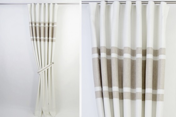 White & Beige Minimalist Blackout Curtains