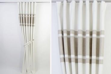 White & Beige Minimalist Blackout Curtains