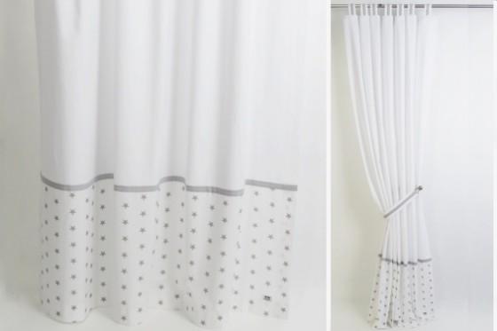Grey & White Stars Curtains