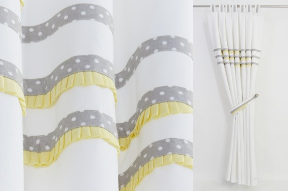 White & Grey & Yellow Curtains